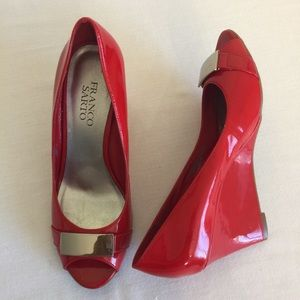 Franco Sarto Red Shiny leather wedge heels Sz 7M